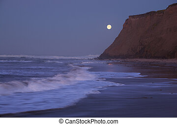 Moonset at Half Moon Bay - Half Moon Bay at moonset and...