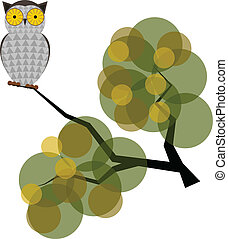 Vector illustration of an owl on a branch