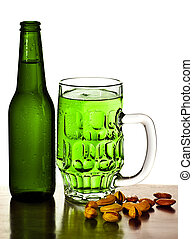 Cold green beer - Irish green beer, traditional alcohol for...