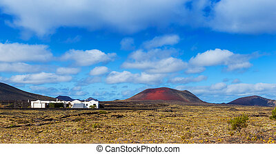 Typical houses on the island of Lanzarote - Panorama of a...