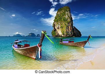 Tropical beach, Thailand - Tropical beach, longtail boats,...