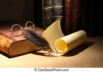 Vintage Library - Vintage library still life. Old books,...