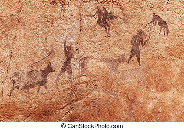 Rock, paintings, Tassili, N'Ajjer, Algeria