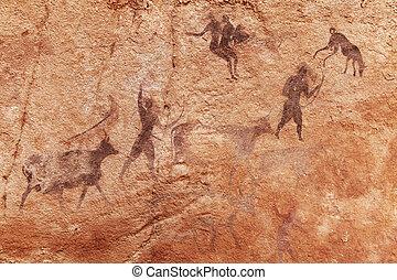 Rock, paintings, Tassili, N'Ajjer, Algeria