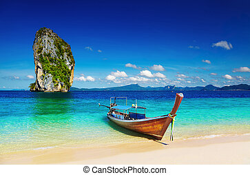 Tropical beach, Andaman Sea, Thailand - Long tail boat,...