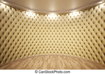 interior - luxurious interior with leather walls and wooden...