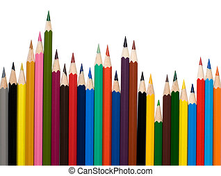 Number of colored pencils on white background