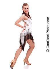 Latino dancer posing isolated on white - young woman dancing...