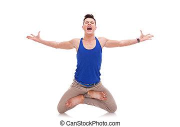 screaming man  in a zen position