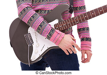 closeup of a rock and roll guitarist