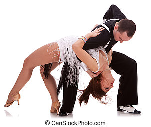 passionate salsa dancing couple - Young couple dances...