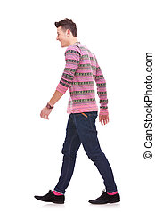 side view of a fashion man walking