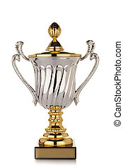 Gold trophy cup on white background - golden and silver...
