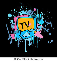 TV - Abstract vector colorful TV illustration. Grunge design