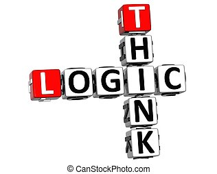 3D Think Logic Crossword on white background