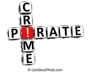 3D Digital Crime Crossword on white background