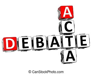 3D Debate Acta Crossword on white background