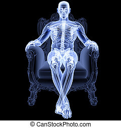 human - man sitting in a chair under the X-rays.