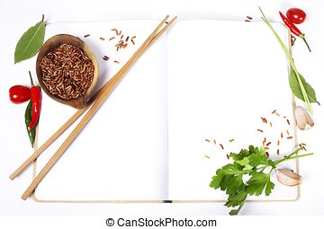 asian ingredients on opened notebook (with space for text)