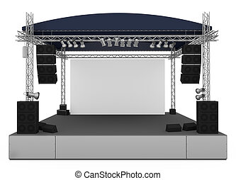 Stage - Front view of outdoor gig stage. 3D render