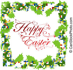 Easter holiday frame with eggs, green foliage and copyspace...
