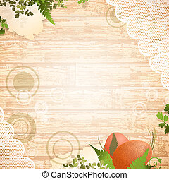Vintage Easter wooden background - Easter wooden background...