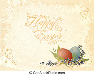 Vintage Easter greetings - Vintage Easter background with...