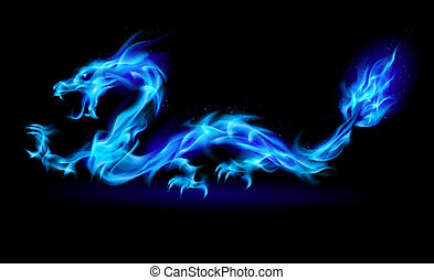 Blue fire Dragon - Abstract Dragon Illustration on black...