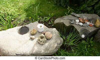 original stones collection in the summer garden