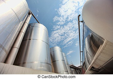 industrial infrastructure - silos - Silver silos and tank -...