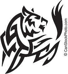 arctic fox in tribal style - vector illustration - vector...