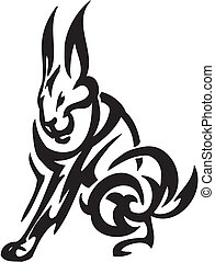 hare in tribal style - vector illustration - vector...