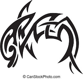 dolfijn, Van een stam, stijl, -, Vector, illustratie