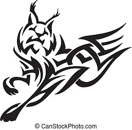 lynx in tribal style - vector illustration - vector...