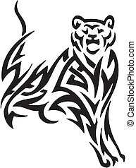 Puma in tribal style - vector illustration - vector...