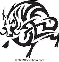 boar in tribal style - vector illustration - vector...
