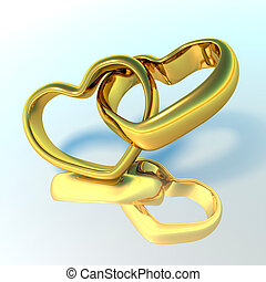 Wedding rings in the shape of hearts