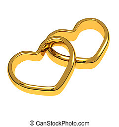 Wedding rings in the shape of heart