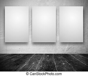 Blank banners in a old dark room - Gallery Interior with...