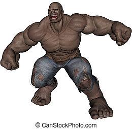 Monster man - 3D rendered monstrous bodybuilder man on white...