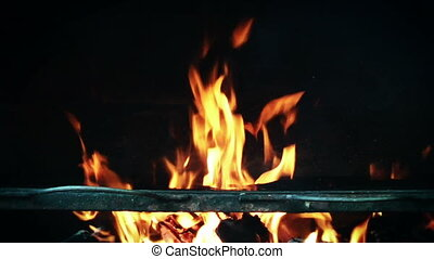 Barbeque fire slow motion