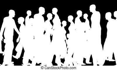Crowd silhouettes walking, loop - Crowd silhouettes walking,...