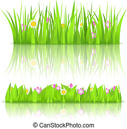 Green grass with flowers, vector eps10 illustration
