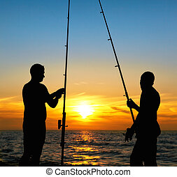 Fishing at sunset