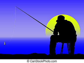 angler at dawn