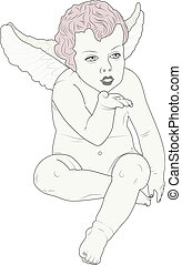 cherub giving kiss