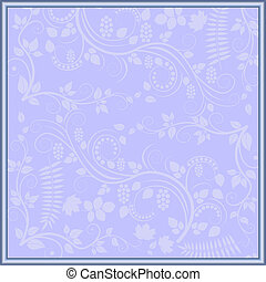 light blue background with floral decoration