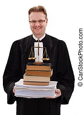 Happy judge holding justice scale and paperwork