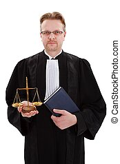 Judge with golden scale of justice