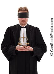 Blindfold lawyer with golden scale of justice